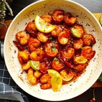 Креветки жареные с чесноком в соевом соусе на сковороде